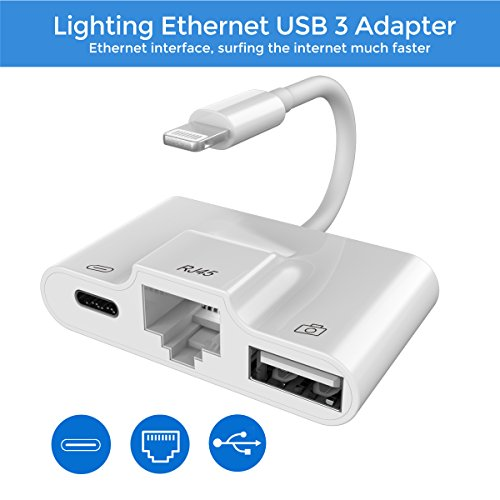 Lightning to RJ45 Ethernet LAN Wired Network Adapter, Lightning Ethernet Adapter, Lightning to USB Camera Adapter, Charging & Data Sync OTG Adapter Compatible iPhone/iPad, Required iOS 10.0 up by RayCue (Image #7)