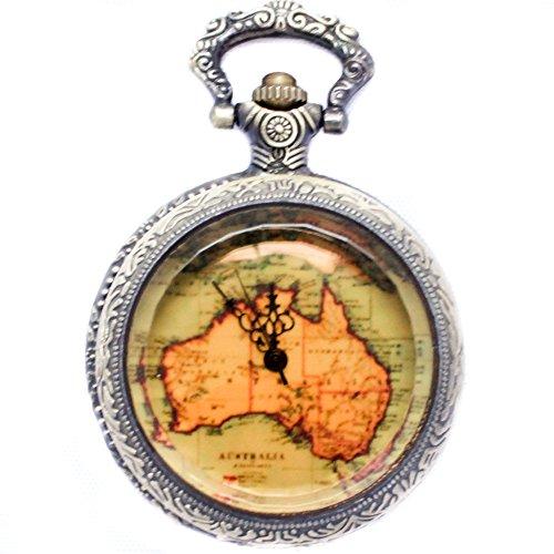 b.still Bronze Cover Map Pocket Watch with Chain b.still