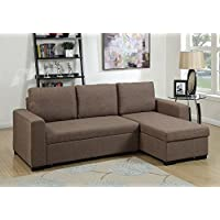Advanced Modern Light Coffee Convertible Linen-Like Fabric Sectional Sofa Set with Pull-Out Bed