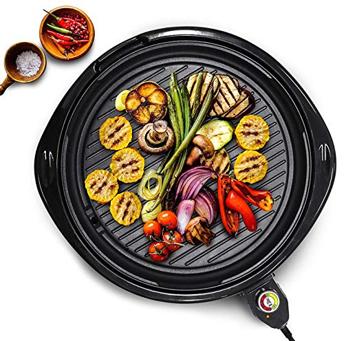 - Elite Platinum EMG-980B Large Indoor Electric Round Nonstick Grilling Surface, Faster Heat Up, Ideal Low-Fat Meals, Easy To Clean Design, Includes Glass Lid, 14