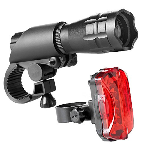 ROSIMO Bike Light - Bright CREE Lightbulb LED Lighting for Bicycle Front and Rear, Waterproof Bike Lights with 3 Modes, Easy to Mount Headlight and Taillight with Quick Release System (A)