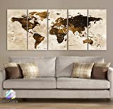 Original by BoxColors Xlarge 30''x 70'' 5 Panels 30x14 Ea Art Canvas Print Watercolor Brown Map World Push Pin Travel Wall decor Home ( framed 1.5'' depth ) M1801