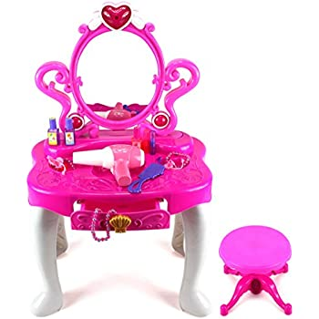 Princess Dressing Table Pretend Play Battery Operated Toy Beauty Mirror  Vanity Play Set W/ Flashing