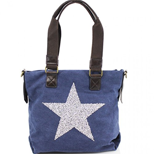 LeahWard Women's Unisex Canvas Star Shoulder Bag 512 Navy