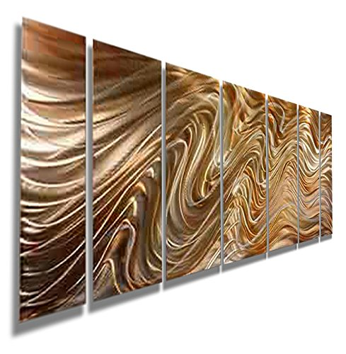 Modern Amber, Yellow & Golden Handpainted Metal Wall Art Painting - Contemporary Abstract Home Office Decor Sculpture Accent - Mystic Desert by Jon Allen - Amber Wall Art