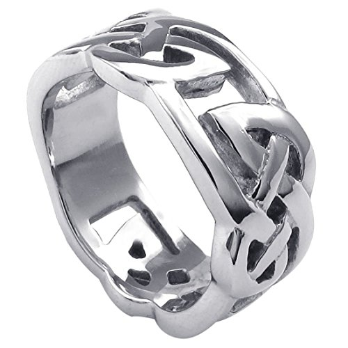 SODIAL(R) Jewelery Men's Ring, Stainless Steel, Classic Celtic Knot, 10mm, Silver - Gr. 70 (22.3mm) - Tiffany Knot Ring