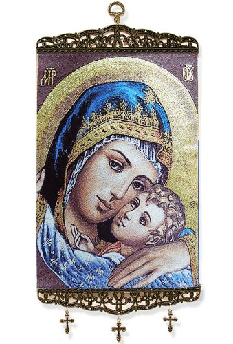Madonna and Child Icon 17 Inch Tapestry Banner with Cross Hanging Wall Icon by Religious Gifts