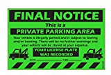 "MESS Parking Violation Stickers Final Notice Private Parking Car Warning Sticker / Hard To Remove and Very Sticky Permanent Adhesive (25-Pack) 8"" x 5"" …"