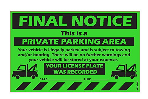 "MESS Parking Violation Stickers Final Notice Private Parking Car Warning Sticker / Hard To Remove and Very Sticky Permanent Adhesive (25-Pack) 8"" x 5"" … by MESS"