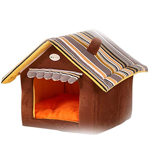 Brown Xiami Leyuan Soft Indoor Cat Dog Houses Pets Trave Cushion Sponge Material Portable Transportation (Brown, L 21.6'' x 19.6'')