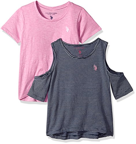 Girls Striped Polo - U.S. Polo Assn. Girls' Toddler 2 T-Shirt, Pack Solid tie Sleeve Striped Cold Shoulder Multi, 2T