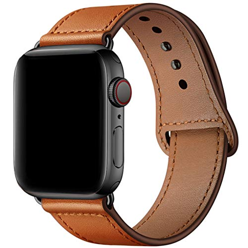 YALOCEA Compatible with iWatch Band 44mm 42mm 40mm 38mm, Genuine Leather Band Replacement Strap Compatible with Apple Watch Series 4 Series 3 Series 2 Series 1, Brown 42mm 44mm