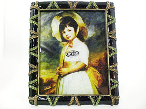 Ciel Collectables Polina Picture Frame, Peridot Swarovski Crystal, Hand Painted Enamel Over Pewter, Antique Brass Plating, Stylish Metal Back Have Two Way Easel, Holds 8 x 10 Inch Pictures (Frame Swarovski Jeweled Enamel)
