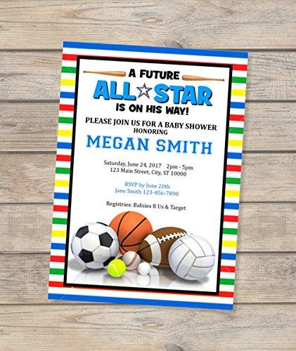 fb8bdb1a2e6b4 Amazon.com: All Star Sports Boy Baby Shower Invitation, Allstar ...