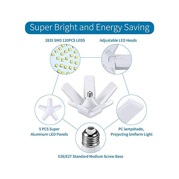 ALOVECO LED Garage Lights, LED Garage Ceiling Lights 60W 6000LM, E26/E27,CRI 80, 6000K Daylight White with 5 Adjustable… 5