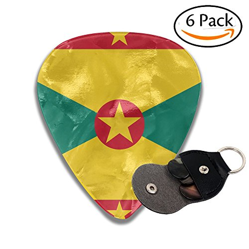 Flag Of Grenada 351 Shape Classic Celluloid Guitar Picks For Guitar Bass - 6 Pack .71mm