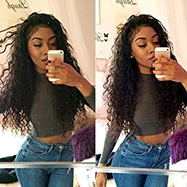 AM Youth Human Hair Full Lace Wigs Virgin Brazilian Human Hair Lace Wigs Deep Curly Full Thickness 130% Density for Black Women 14″-24″ in Stock(24inch,Natural Color)
