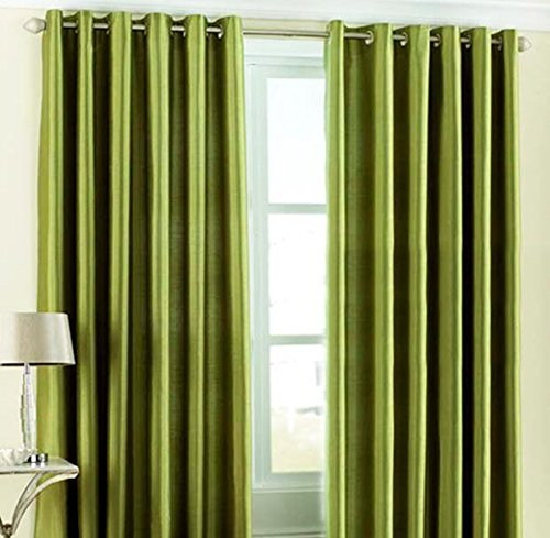 Home Candy Eyelet Fancy Polyester 2 Piece Door Curtain Set – 84″x48, Green (SOE-CUR-118_118)