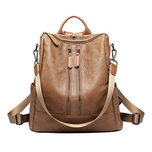Women's Fashion Backpacks Purses Daypack for College, Travel, Work (Faux Leather) (Brown A) by Jeffy & Retro