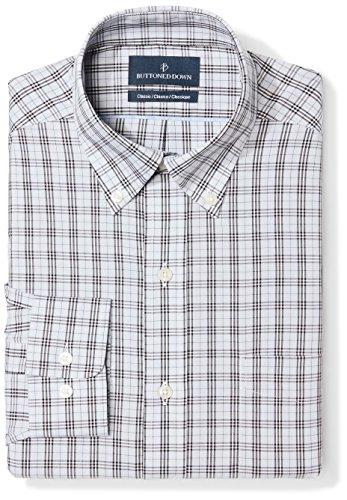 BUTTONED DOWN Men's Classic Fit Button Collar Pattern Non-Iron Dress Shirt, Grey/Black Plaid, 17