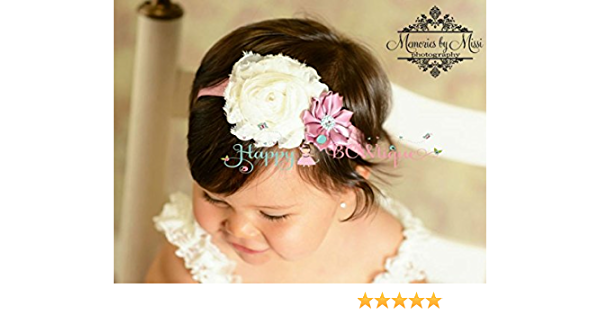 Flower Girl Headband Ivory Baby Headband Baptism Headband Large Ivory Eyelet Flower Headband Ivory Cake Smash Large Baby Headbands