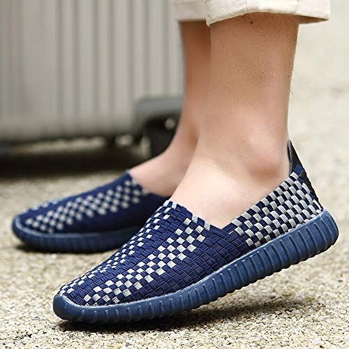 Sports Darkblue Soft Slip Men Woven Casual 40 Shoes Hand Bottom Couples Lazy Made Breathable Non Shoes Hiking Shoes Darkblue Travel And Women Running wfREnO