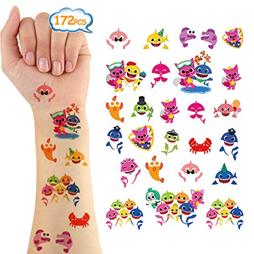Baby Shark Temporary Tattoos 172 Pcs Party Supplies Body Stickers Costume Accessories for Kids Birthday Party Favors Decorations Ocean Sea Shark Themed Baby Shower Boy Girls Kids Party Bag Filler (6 S