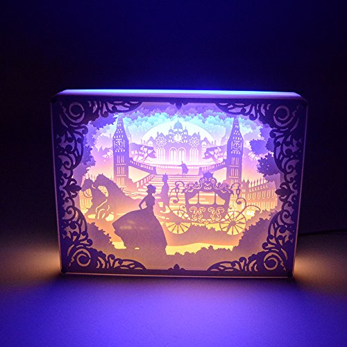 Paper-cutting Light Box, 3D Shadow 1.7W USB LED Night Light , Creative Lamp Art Decor for Children and Adults, Kids Baby Nursery Bedroom Living Room Night Lamp (Princess in the Castle)