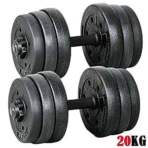 20kg Dumbbells Set Dumbells Weights Home Gym Fitness Training Biceps Barbell Bar -2 Sets