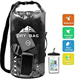 HEETA Waterproof Dry Bag for Women Men, Roll Top Lightweight Dry Storage Bag Backpack with Phone Case for Travel, Swimming, Boating, Kayaking, Camping and Beach, Transparent Black 10L