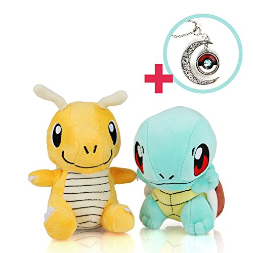 Premium Necklace - Dragonite - Squirtle Stuffed 5in Set / Enjoy the Pokémon Plush Toy with Pokemon Game Cards!