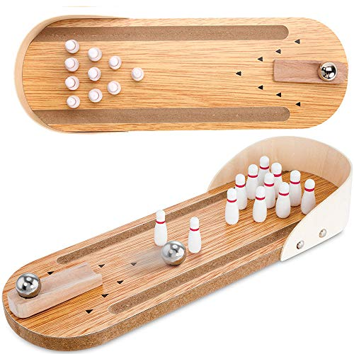 Mini Pinball Games - Indoor Wooden Mini Bowling Game Set - Best Family Party Desktop Toys for Kids Adults, Wood Finger Hand Stress Relief and Kill Time Toys, Home Office Decor Board Games Desk Tabletop Toy