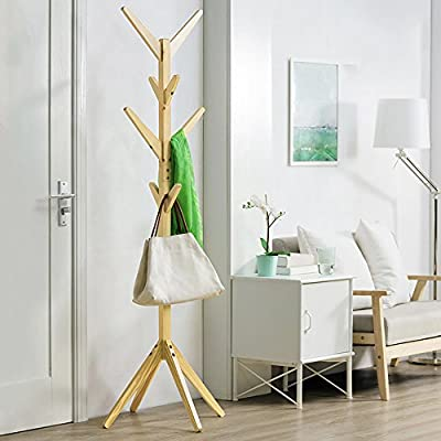 soges Coat Rack 69 inch High Free Standing Coat Hanger Coat for Hat Jacket Entryway Hall Tree, Natural Color CR001-NW - 【Standing size】 L17.7 x W17.7 x H68.9 inch. The regular size is suitable for all families or offices. 【Well-selected materials】This Free standing coat rack with its traditional and modern design, and made from pinewood as raw materials, which is waterproof, anti-corrosion, non-toxic. It is a good choice for home and office use. 【Solid construction】4 prong legs add balance and stability to the coat rack stand and ensuring it won't tumble when apparel is hung. 8 convenient hooks on the modern coat rack allow users to DIY assemble different length and number of layers, easily hang garments and accessories. - entryway-furniture-decor, entryway-laundry-room, coat-racks - 51STJiZ3CtL. SS400  -