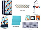 Bacati - Liam Aztec Aqua/Orange/Navy 10 pc Crib Set with 2 crib sheets