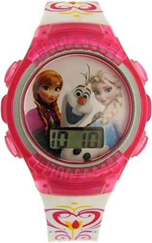 Disney Kids' FNFKD013 Frozen Elsa and Anna Digital Display Quartz Pink Watch in an Ornament Gift Bulb