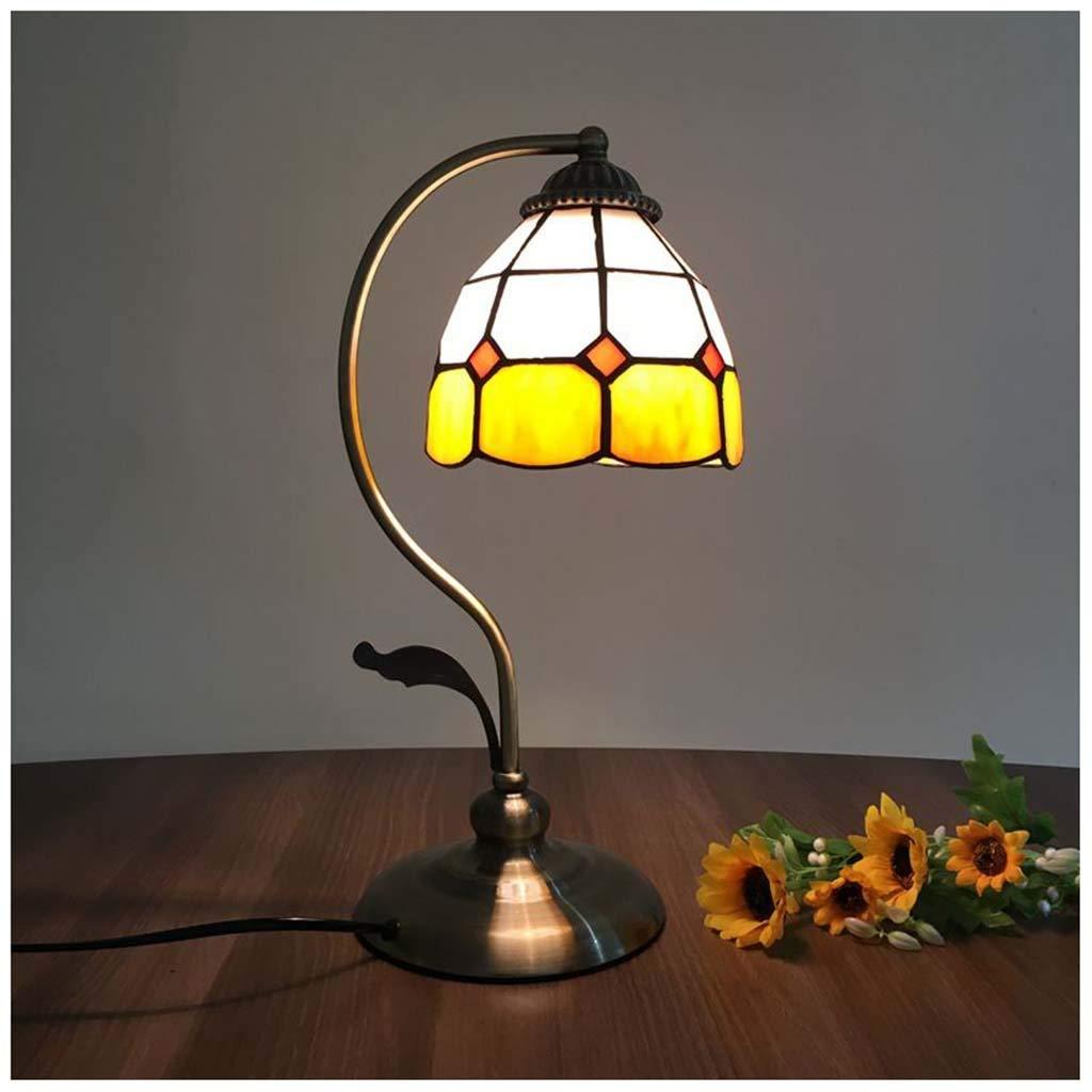 YYF Vintage Glasmalerei Tischlampe - mediterrane Studie Schreibtischlampe 5 Zoll gelb kariertes Schlafzimmer