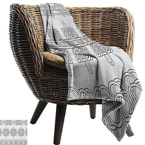 Warm Blanket Irish Indigenous Motifs in Stencil Art Style Celtic Culture Outline Tribal Victorian All Season Premium Bed Blanket 60