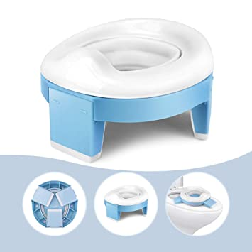 2-in-1 Go Potty for Travel Portable Folding Compact Toilet Seat,Potty Training Toilet Chairs for Toddler Boys /& Girls with Storage Bag and Potty Liners by BlueSnail Blue+Pink