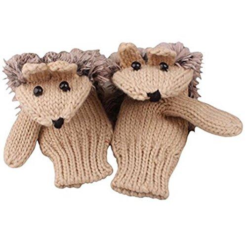Pahajim Women's cute animal gloves Cartoon Hedgehog Winter Cotton Gloves Girls' Thick Mittens (beige)