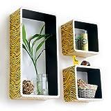 Trista - [Yellow Zebra Stripe] Rectangle Leather Wall Shelf / Bookshelf / Floating Shelf (Set of 3)