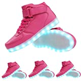 TUTUYU Kids 11 Colors LED Light Up Shoes High Top Fashion Flashing Sneakers Pink 35