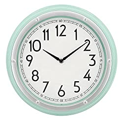 Westclox Mint Green 12 Round Wall Clock with 3D Screw Head Bezel