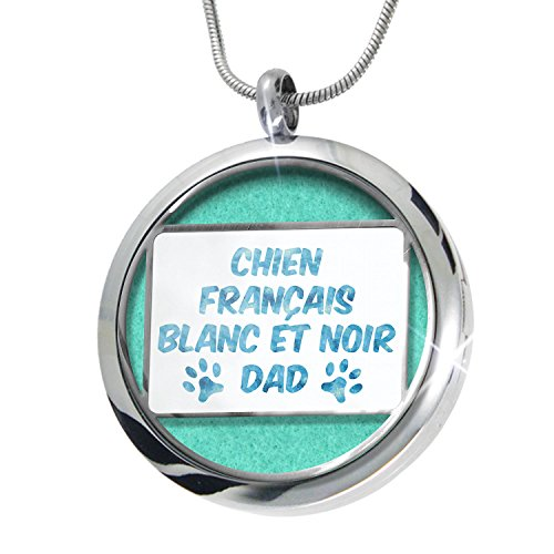 NEONBLOND Dog & Cat Dad Chien Français Blanc et Noir Aromatherapy Essential Oil Diffuser Necklace Locket Pendant Jewelry Set