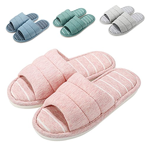 Women Open Toe Slip on Home Slippers Comfort Memory Foam Slippers Indoor Outdoor House Slippers Shoes by MeKaren