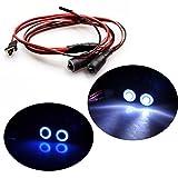 Jack-Store 2 Leds Angel Eyes & Demon Eyes LED Headlight Back Light for 1/10 RC Car Blue+White