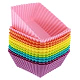 Freshware CB-306SC 12-Pack Square Silicone Reusable Baking Cup, Six Vibrant Colors