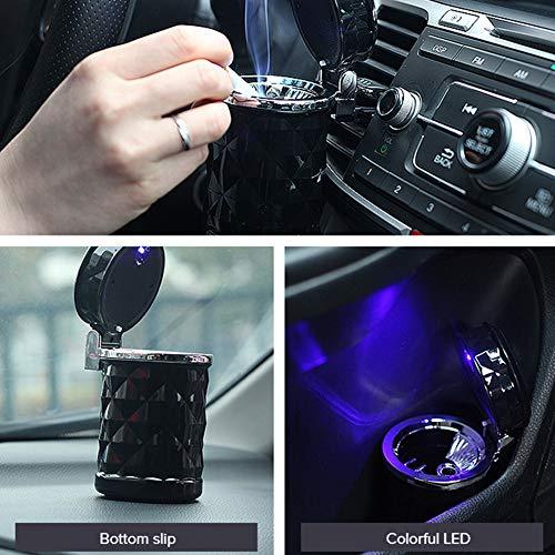 YMXLJJ Diamond Ashtray Portable Fashion Creative Ashtray High Temperature with LED Light Cigarette Smoke Office Home Car Travel Accessories,Black by YMXLJJ (Image #4)