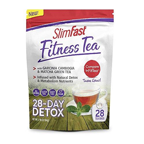SlimFast Fitness Tea All Natural 28 Day Detox with Garcinia, Matcha Green Tea & Metabolism Nutrients
