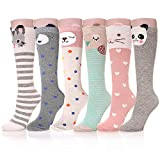 AOXION Girls Knee High Socks Cute Cartoon Animal Cotton Over Calf Stockings (6 Pairs)