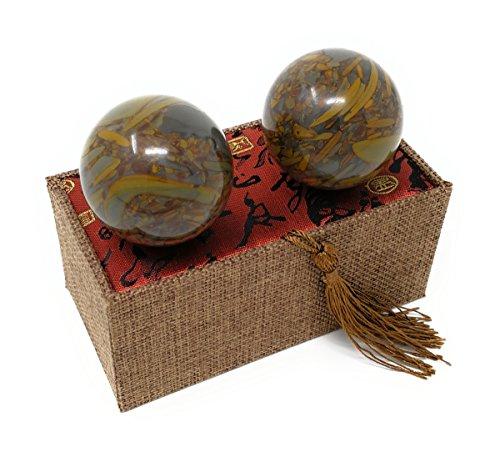 bamboo pattern cyan nuwa marble stone chinese healthy exercise massage baoding balls